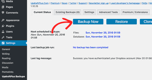 Start a wordpress blog: manual backup with Updraftplus
