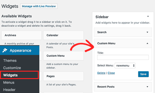 Adding navigation menu to sidebar widget