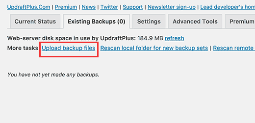 Upload backup files manually