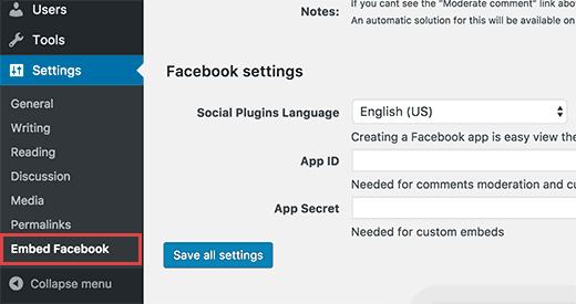 WP Embed Facebook settings page