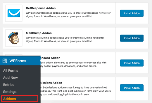 Cài đặt Addon MailChimp