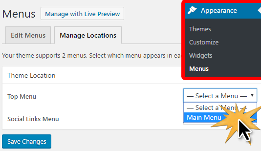 Adding the new menu to your site
