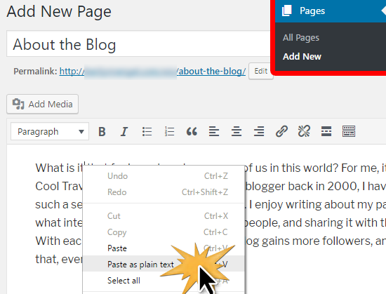 Paste content from Wix to WordPress