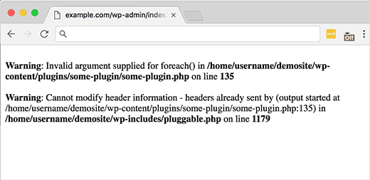 Example of an error in WordPress mentioning pluggable.php file