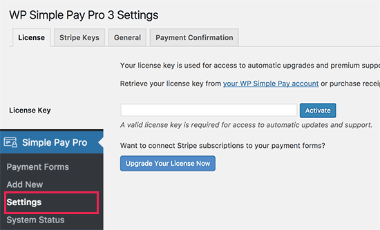 WP Simple Pay settings