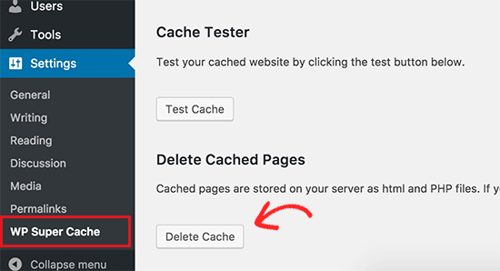 Elimina la cache in WP Super Cache