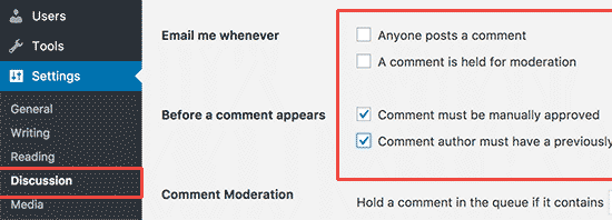 Configurando ajustes de comentarios de su WordPress