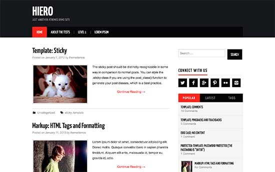 hiero is a free wordpress blog theme with a magazine style layout it uses bold colors for header and accent it uses a two column layout and comes with a