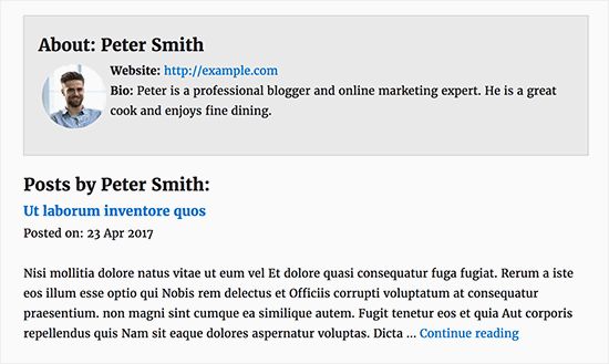 A custom author profile page in WordPress