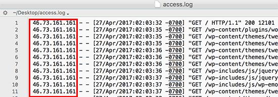 IP-adressen in toegangslogbestand