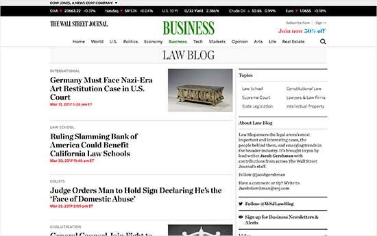 Wall Street Journal Hukuk Blogu
