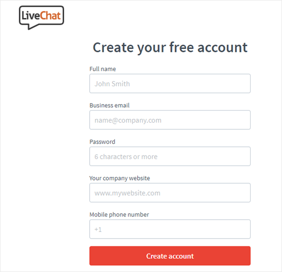 Entering your details to create your LiveChat account
