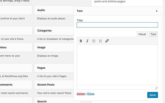 New text widget in upcoming WordPress 4.8 with visual and text editor