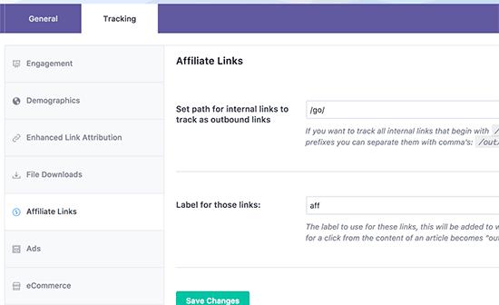 Track affiliate links