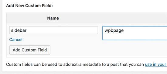 Adding custom sidebar to a post using custom fields