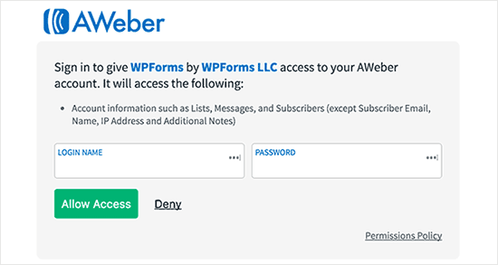 Sign into your AWeber account