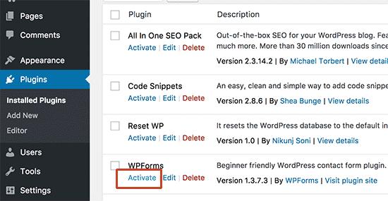 Aktifkan plugin versi terbaru