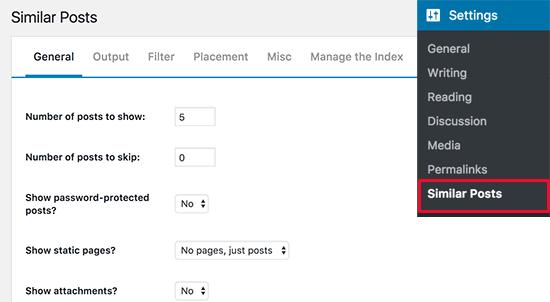 Soortgelijke posts plugin-instellingen