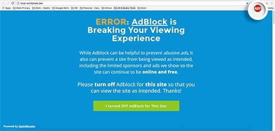 AdBlock lockout