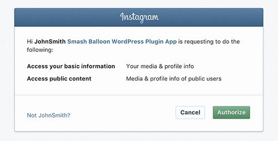 Authorize plugin to access Instagram data