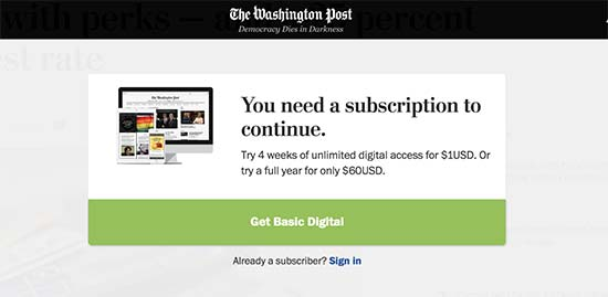 Paywall on The Washington Post