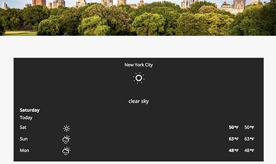 Weather forecaste displayed on a WordPress website