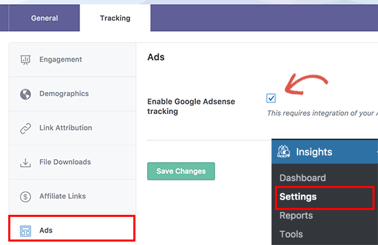 Enable Adsense tracking in Google Analytics with MonsterInsights