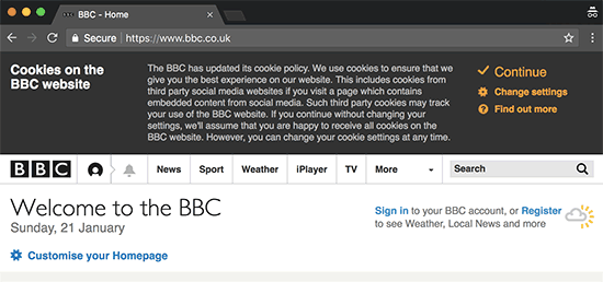 cookies notification popup displayed on the bbc website