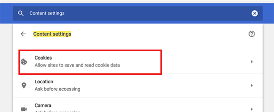 Cookies section in Chrome settings