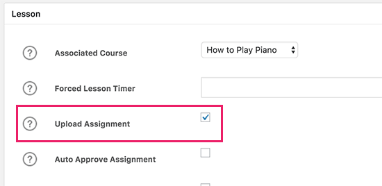 Enable assignment upload option