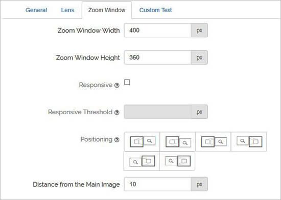 Zoom venster configuratie
