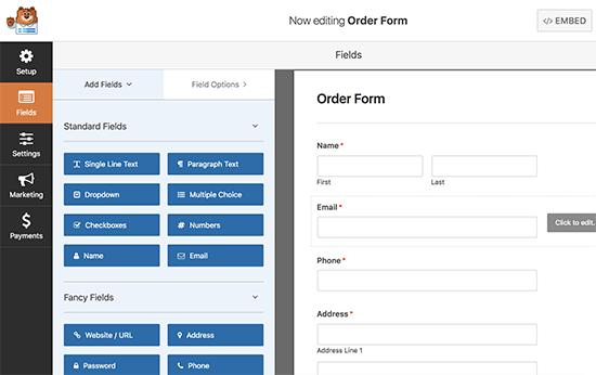 Edición de formulario de pedido