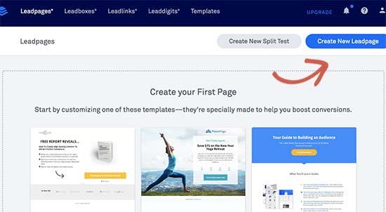 Creando una nueva página de destino con Leadpages