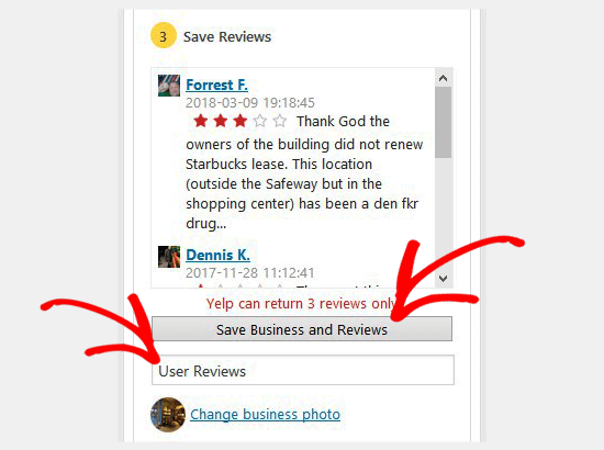 Save business reviews