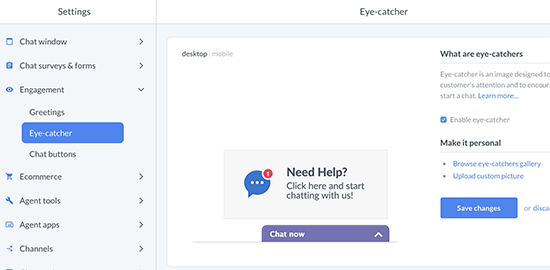 LiveChat button or eyecatcher