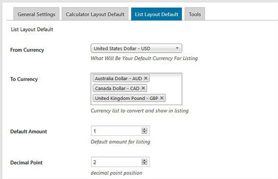 Currency list default settings