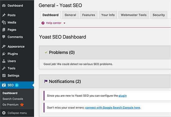 Yoast SEO installed in WordPress