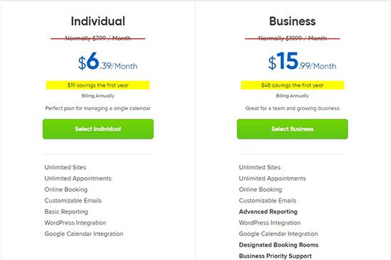 StartBooking pricing plans