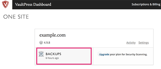 VaultPress dashboard backups