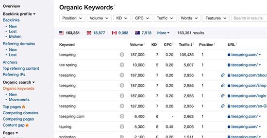 Keywords report