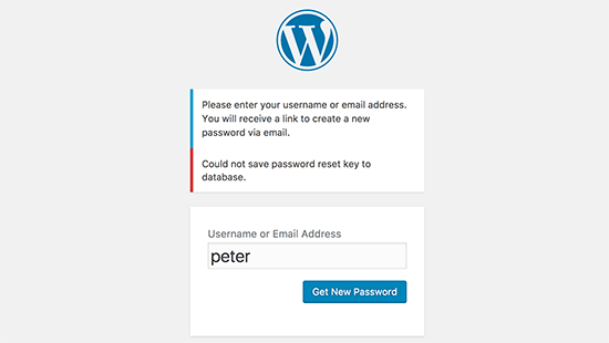 Errore chiave di reimpostazione password in WordPress