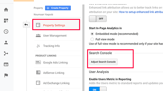 Adjust search console button