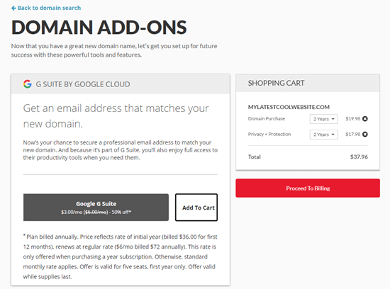 The domain addons available from Domain.com
