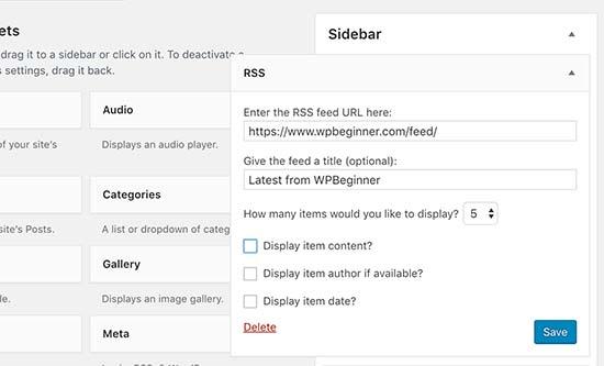 RSS-widget toevoegen aan uw WordPress-site