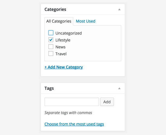 Category and tags in classic editor