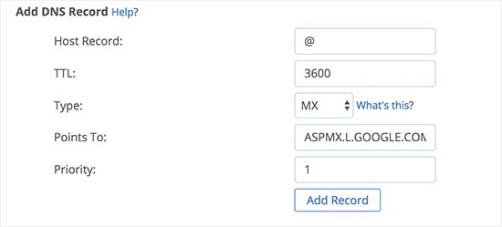 Adding MX records to your domain name
