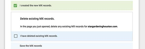 MX records created