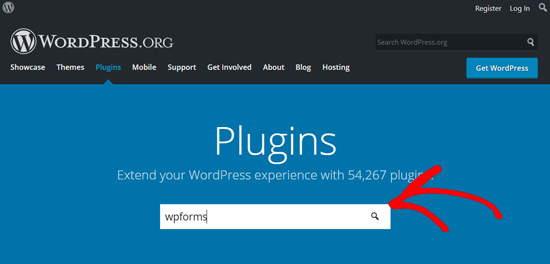 Search WPForms plugin in WordPress.org