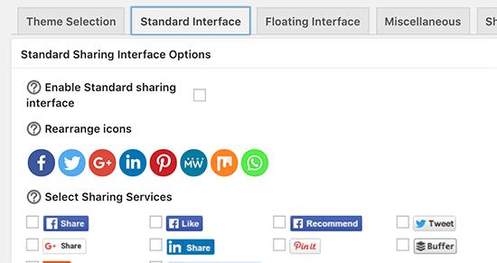 Standard sharing buttons