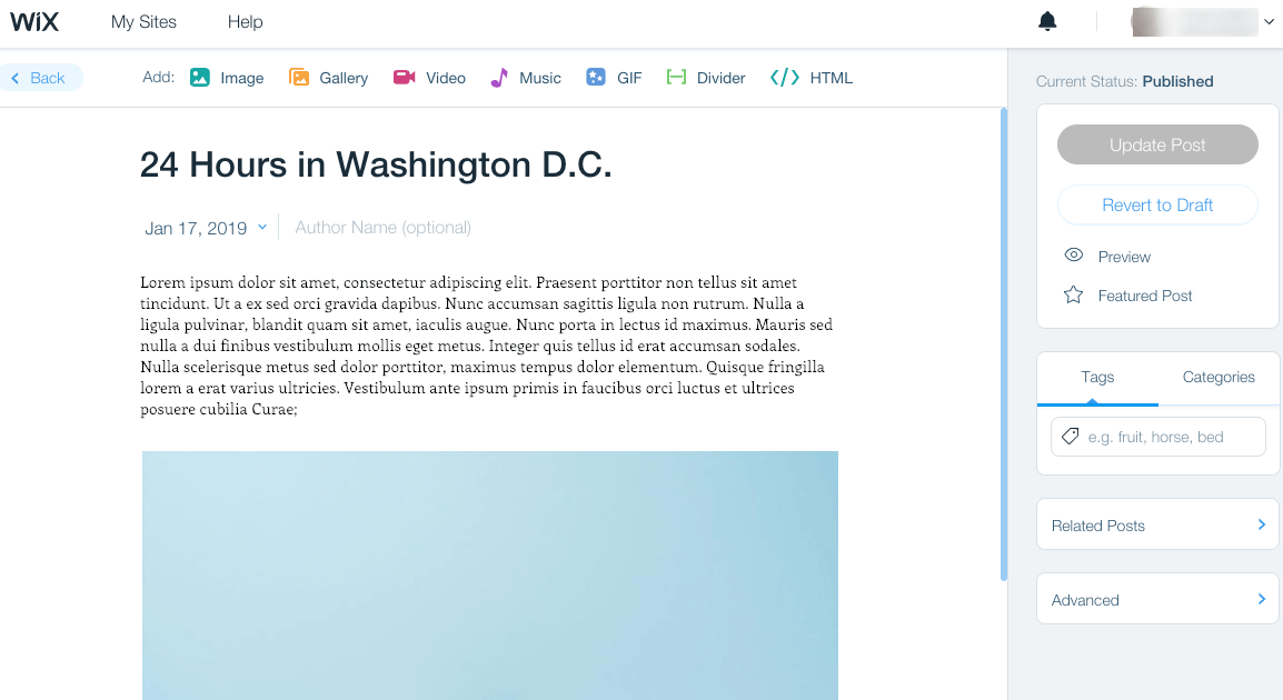Wix blog editor
